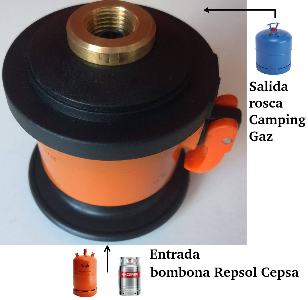 adaptor of gas butane cylinder repsol cepsa a camping gaz for campingaz ebay. Black Bedroom Furniture Sets. Home Design Ideas
