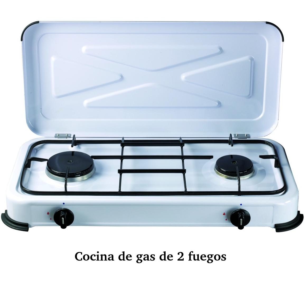 Cocina gas de dos fuegos portatil para butano con for Cocina de gas de dos fuegos